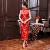 พร้อมเช่า กี่เพ้า แขนกุด สีแดง ลายดอกบ๊วย Cherry Blossom ผ้าไหมจีน กุ๊นขอบ ตัดเย็บอย่างดี