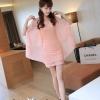 พร้อมส่ง ชุดออกงาน mini dress สีโอโรส แต่งแขนผ้าชีฟอง แถมเข็มขัด (เหลือเฉพาะไซส์ L )