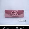 Sale พร้อมส่ง Evening Clutch กระเป๋าออกงาน สีชมพู Nude ผ้าซาติน ฝาอัดพลีต แต่งดอกกุหลาบ
