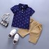 ชุดเซตเสื้อคอปกลายสมอสีกรมท่า+กางเกงสีน้ำตาล แพ็ค 5 ชุด [size 6m-1y-18m-2y-3y]