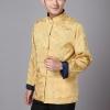 Pre-order ชุดจีน ชาย เสื้อคอจีน ผ้าแพร สีทอง / น้ำเงิน ใส่ได้สองด้าน