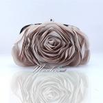 พร้อมส่ง Evening Clutch กระเป๋าออกงาน รูปดอกกุหลาบ เนื้อซาตินสวย พร้อมสายโซ่ สั้น-ยาว สี Apricot
