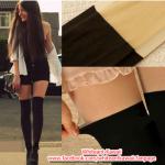 [พร้อมส่ง] P1274 ถุงน่องเต็มตัวลายครึ่งขาสไตล์ญี่ปุ่น แบบคล้ายถุงเท้ายาวสีดำ ไม่มีลายค่ะ