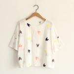 [Pre order] MM4088 เสื้อแขนสั้น ปักลายนก Colorful Shirt