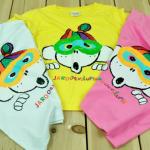 SEV9328 TWO&SEVEN เสื้อยืดเด็กแนวสไตล์เกาหลี สกรีนลายการ์ตูนสีสันสดใส เหลือ สีขาว และ สีชมพู Size 100/110/120