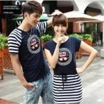 [Pre-order] YR2511803 เสื้อคู่รัก/ชุดคู่รัก ผู้ชายเป็นเสื้อยืด + ผู้หญิงเป็นเดรสผ้ายืด