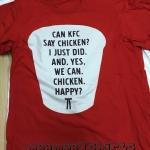 งานพิมพ์เสื้อยืดสีแดงลายไก่ KFC ด้วยระบบ DTG ดิจิตอล 10 ตัว 10 ลายไม่ซ้ำแบบกันเราก็พิมพ์ได้ สามารถพิมพ์เสื้อด่วน ไม่จำกัดสีที่ใช้ในการพิมพ์ ไม่จำกัดจำนวนตัว เสื้อยืดผ้า cotton 100% comb เนื้อดีไม่มีตะเข็บข้าง สีไม่ลอกไม่ตกแน่นอน เพียงแค่มีไฟล์ภาพมาให้เราก