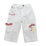 KGP007L เสื้อผ้าเด็ก Kidsplanet กางเกงขายาวเด็กหญิง สีขาว ปักลายสวย ด้านล่างแต่งกระเป๋าเล็กพร้อมโบว์ลายดอกไม้หวาน ๆ Size 3Y/4Y/5Y