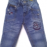 J11084 กางเกงยีนส์เด็กชาย ขายาว ดีไซส์ลายปักเท่ห์ ปรับเอวได้ Size 1-3 ขวบ