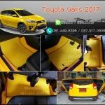 ยางปูพื้นรถยนต์เข้ารูป Toyota Yaris 2017 กระดุมสีเหลืองขอบชมพู