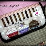 กระเป๋าเงินใบยาวลายคัพเค้ก ผ้าคอตตอนลินินญี่ปุ่น - สั่งทำค่ะ