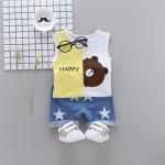 ชุดเซตเสื้อกล้ามลายหมีบราวน์+กางเกงสีฟ้าลายดาว [size 6m-1y-2y-3y]
