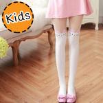 [ไซส์เด็ก] K6829 ถุงน่องเด็ก แบบสีขาวครึ่งขา ลายแมวขาว หูชมพูแดง White Cat