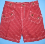 KPSP076L Kidsplanet กางเกงขาสั้น ลายริ้วสีแดง ผ้าลินินคอตต้อน พริ้วบางใส่สบาย กระะเป๋าหน้า+หลังเก๋ ๆ Size 4Y / 5Y