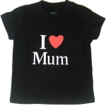 GPM9013 baby Gap เสื้อยืดเด็ก สีดำ แขนกระบอก สกรีนลาย I Love Mum เหลือ Size 4Y