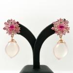 ต่างหูโรสควอตซ์ประดับพิงค์ซัฟไฟร์ (Rose quartz silver earring with pink sapphire)