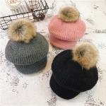 [พร้อมส่ง] H8175 หมวกแกปไหมพรมกันหนาว แต่งปอมๆจุกสุดน่ารัก