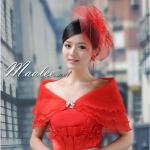 เสื้อคลุมชุดราตรี ผ้าแก้วออกันซ่า สีแดง พร้อมตะขอเพชรรูปโบว์