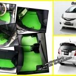 ขายพรมปูพื้นรถยนต์เข้ารูป Honda Jazz 2012 ลายกระดุมสีเขียวขอบดำ
