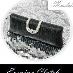 พร้อมส่ง Evening Clutch กระเป๋าออกงาน สี ดำ แบบเรียบหรู คาดคริสตัลฝาปิด