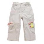 KGP006 Kidsplanet กางเกงขายาวเด็กหญิง สีเบจ ผ้ามีดีเทล ปักลายดอกไม้ ตกแต่งด้วยกระเป๋าเก๋ ๆ ผูกโบว์ลายดอกไม้ Size 12M