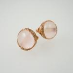 ต่างหูพลอยโรสควอตซ์ (Rose Quartz Earring with White Topaz)