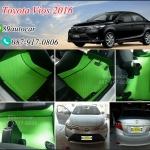 ยางปูพื้นรถยนต์เข้ารูป Toyota Vios 2016 กระดุมสีเขียวขอบดำ