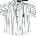 SH105 POLO RALPH LAUREN เสื้อเชิ้ตเด็กแขนสั้น ผ้าคอตตอน นิ่ม พริ้วนิด ๆ ลายริ้วสลับสี โทนฟ้า-เหลืองอ่อน ปักม้าตรงอก Size 8/10/12