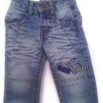J11076 กางเกงยีนส์เด็กชาย ขายาว ดีไซส์ลายปักเท่ห์ ปรับเอวได้ Size 1-3 ขวบ