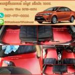 ยางปูพื้นรถยนต์เข้ารูป Toyota Vios 2016 สนุ๊กสีแดงขอบแดง
