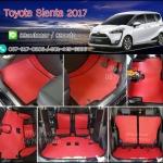 ผ้ายางปูพื้นรถยนต์ Toyota Sienta ธนูสีแดงขอบดำ
