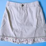 LES052 LES ENPhANTS - Disney Baby เสื้อผ้าเด็กหญิง กระโปรงมินิสเกิร์ตสาวน้อย สีกากี ระบายดอกไม้ตรงชาย กระดุมเหล็กรูปช้าง เหลือSize 1Y/3Y