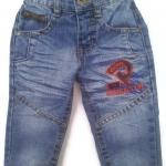 J11075 กางเกงยีนส์เด็กชาย ขายาว ดีไซส์ลายปักเท่ห์ ปรับเอวได้ Size 1-3 ขวบ