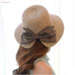 [พร้อมส่ง] H5680 หมวกสาน/หมวกไปทะเล ตกแต่งด้วยโบน่ารักๆ ด้านหลัง สไตล์เกาหลี Summer Hat
