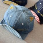 หมวกแก๊ปสียีนส์อ่อนแต่งหูแมว