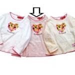 KGTL188L Kidsplanet เสื้อยืดเด็กหญิง แขนยาว สีครีมอมชมพู สกรีนลาย+ปักแปะกระดุม เนื้อผ้ามีดีเทล กุ๊นรอบคอ แขนและชายเสื้อด้วยงานถัก Size 3Y/5Y