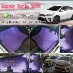 ยางปูพื้นรถยนต์เข้ารูป Toyota Yaris 2016 ธนูสีม่วงขอบม่วง