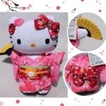 ตุ๊กตาพวงกุญแจเฮลโหลคิตตี้นุ่งชุดกิโมโนสีชมพูลายดอกซากุระ ยืนถือพัด Sanrio Japan HELLO KITTY dressed up in PINK sakura Cherry Blossom traditional Japanese kimono Stuffed Key Chains