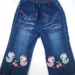 CNJ003 กางเกงยีนส์ เด็กหญิง ขายาว ผ้านิ่มใส่สบาย ปักลายเป็ดน้อยและเชอรี่ กระเป๋าหน้าเก๋สองข้าง Size 15/16