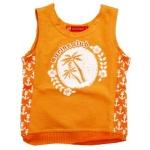 KPTT265L-6 Kidsplanet เสื้อเด็กชาย เสื้อกล้าม/แขนกุด สีส้ม สกรีน Marine Club ตีฉลุตรงชายเสื้อและด้านข้างพร้อมสกรีนรูปสมอเรือตลอดแนว Size 5Y