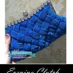 Evening Clutch กระเป๋าออกงาน สีน้ำเงิน อัดพลีทลายสาน ประดับคริสตัลปากกระเป๋า พร้อมสายโซ่สั้น/ยาว