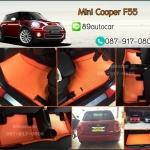 ยางปูพื้นรถยนต์เข้ารูป Mini Cooper S F55 ลายกระดุมสีส้มขอบส้ม + ท้าย