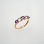 แหวนเงินอเมทิสต์สลับกับบลูโทปาซ (Amethyst and Blue Topaz Silver Ring)