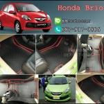 โรงงานพรมรถยนต์ Honda Brio ลายกระดุมสีดำขอบแดง