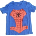 WD1B The Wonderful World Of Disney เสื้อยืดเด็ก แขนสั้น สีฟ้า Spiderman Cotton 100% Size 18M-4Y