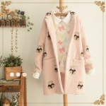 [Pre*order] PAJ4860 เสื้อโค้ทกันหนาว คอปก ทอลายหมีน้อย Teddy Bear Woolen Coat สไตล์เกาหลี Korean Style