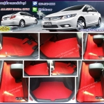 ขายพรมปูพื้นรถยนต์ราคาถูก Honda Civic 2012 ไวนิลสีแดงขอบแดง