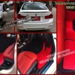 ผ้ายางเข้ารูปปูรถยนต์ราคาถูกส่งฟรี BMW 320 F30 ลายกระดุมสีแดงขอบดำ