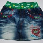 CNJ039 กระโปรงยีนส์ เด็กหญิง มินิสเกิร์ต ผ้าฟอกอัดยับ เอวยาง ปักลายเก๋ ๆ (กระเป๋าหลอกด้านหน้า) กระเป๋าหลังสองข้าง Size L/XL/2XL/3XL