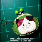 กระเป๋าปิ๊กแป๊กแมว โทนเขียว ขนาดปาก 8.5 cm - สั่งทำ